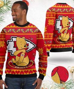Kansas City Chiefs NFL American Football Team Logo Cute Winnie The Pooh Bear 3D Ugly Christmas Sweater Shirt For Men And Women On Xmas Days2