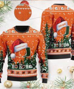 Miami Hurricanes NCAA Symbol Wearing Santa Claus Hat Cute Pattern Ho Ho Ho Custom Personalized Ugly Christmas Sweater Wool S