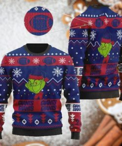 New York Giants American NFL Football Team Logo Cute Grinch 3D Men And Women Ugly Sweater Shirt For Sport Lovers On Christmas Days