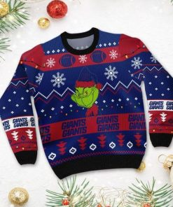 New York Giants American NFL Football Team Logo Cute Grinch 3D Men And Women Ugly Sweater Shirt For Sport Lovers On Christmas Days3