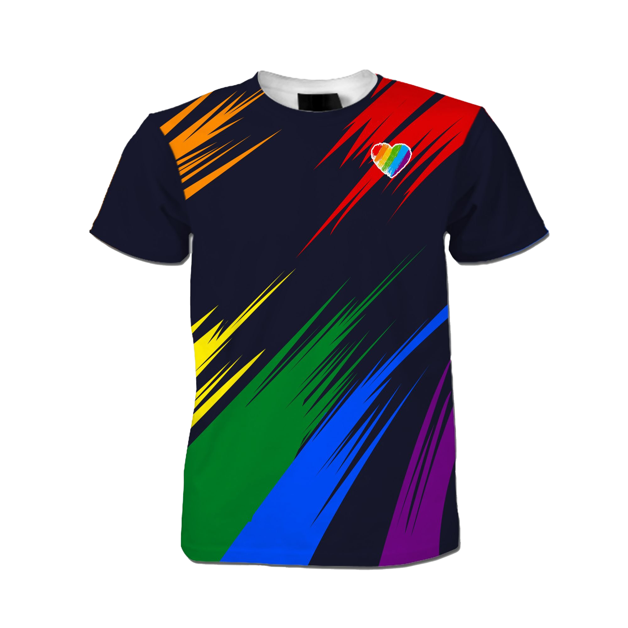 Rainbow Heart LGBT Gay Lesbian Bisexual Transgender 3D All Over Print T Shirt For LGBTQ Community In Pride Month