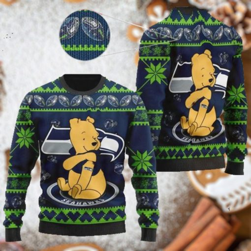 Seattle Seahawks NFL American Football Team Logo Cute Winnie The Pooh Bear 3D Ugly Christmas Sweater Shirt For Men And Women On Xmas Days2
