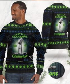 Seattle Seahawks Super Bowl Champions NFL Cup Ugly Christmas Sweater Sweatshirt Party