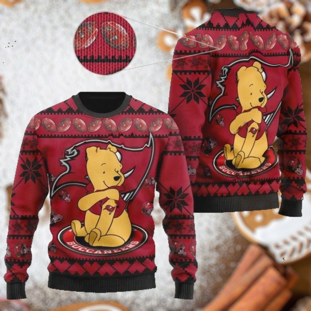 Tampa Bay Buccaneers NFL American Football Team Logo Cute Winnie The Pooh Bear 3D Ugly Christmas Sweater Shirt For Men And Women On Xmas Days